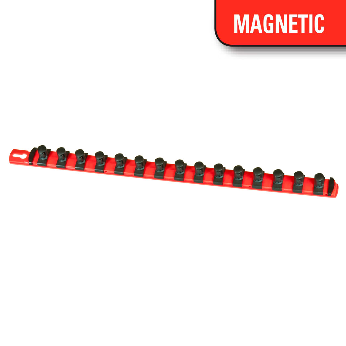 Red. 1//2-inch Drive Magnetic Socket Tray Stores up to 22 sockets